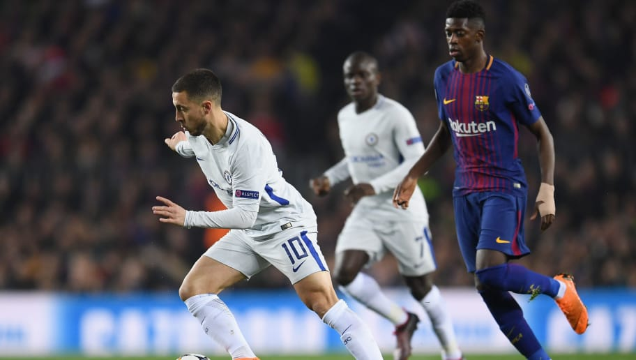 BARCELONA, SPAIN - MARCH 14:  Eden Hazard of Chelsea evades Ousmane Dembele of Barcelona during the UEFA Champions League Round of 16 Second Leg match FC Barcelona and Chelsea FC at Camp Nou on March 14, 2018 in Barcelona, Spain.  (Photo by David Ramos/Getty Images)