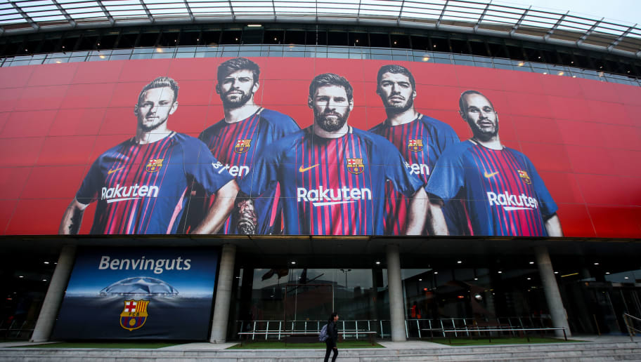BARCELONA, SPAIN - MARCH 14: A general exterior view of Camp Nou, home stadium of FC Barcelona prior to the UEFA Champions League Round of 16 Second Leg match FC Barcelona and Chelsea FC at Camp Nou on March 14, 2018 in Barcelona, Spain. (Photo by Robbie Jay Barratt - AMA/Getty Images)