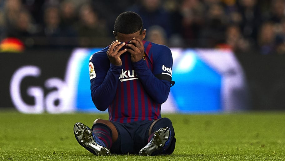 BARCELONA, SPAIN - DECEMBER 05: Malcom of Barcelona reacts injured during the Spanish Copa del Rey second leg match between FC Barcelona and Cultural Leonesa at Camp Nou on December 05, 2018 in Barcelona, Spain. (Photo by Quality Sport Images/Getty Images)