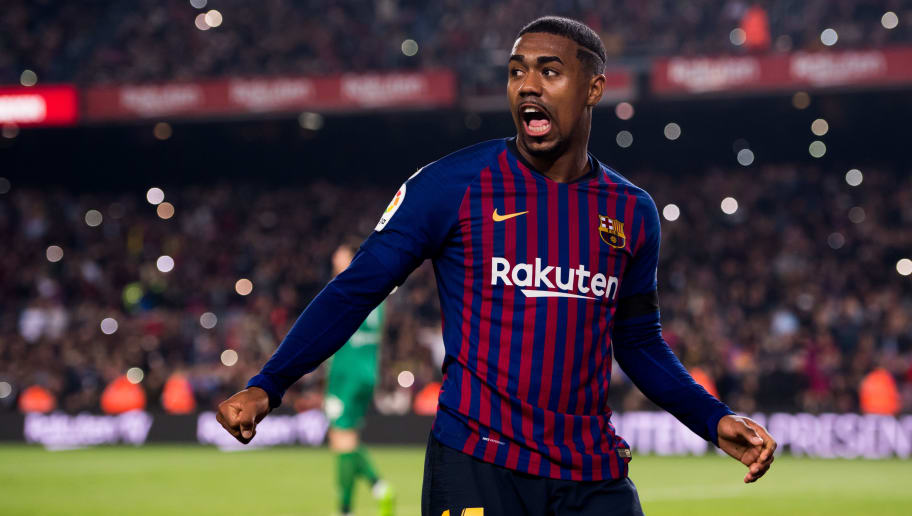 BARCELONA, SPAIN - DECEMBER 05:  Malcom of FC Barcelona celebrates after scoring his team's third goal during the Copa del Rey fourth round second leg match between FC Barcelona and Cultural Leonesa at Camp Nou on December 05, 2018 in Barcelona, Spain.  (Photo by Alex Caparros/Getty Images)