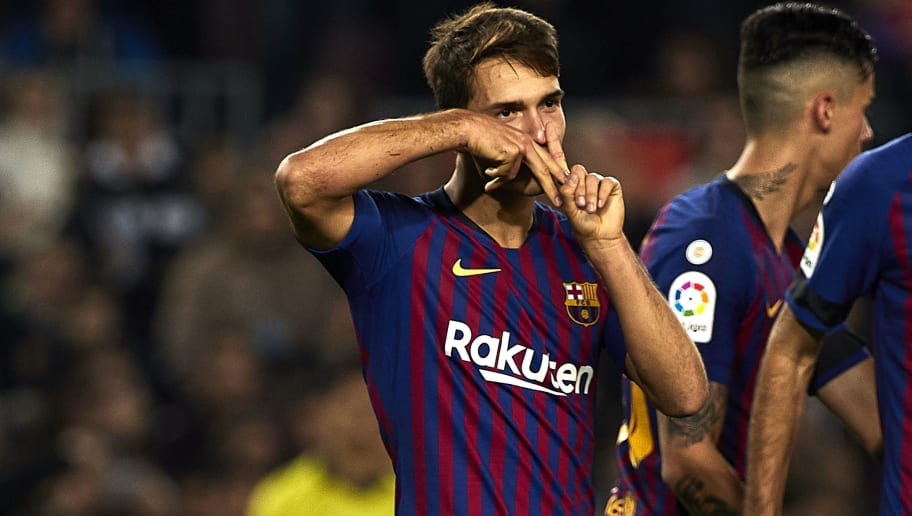BARCELONA, SPAIN - DECEMBER 05: Denis Suarez celebrates a goal during the Spanish Copa del Rey second leg match between FC Barcelona and Cultural Leonesa at Camp Nou on December 05, 2018 in Barcelona, Spain. (Photo by Quality Sport Images/Getty Images)