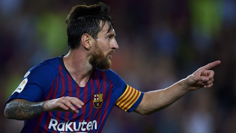 54e4bf2b9 BARCELONA, SPAIN - AUGUST 18: Lionel Messi of Barcelona celebrates after  scoring the third
