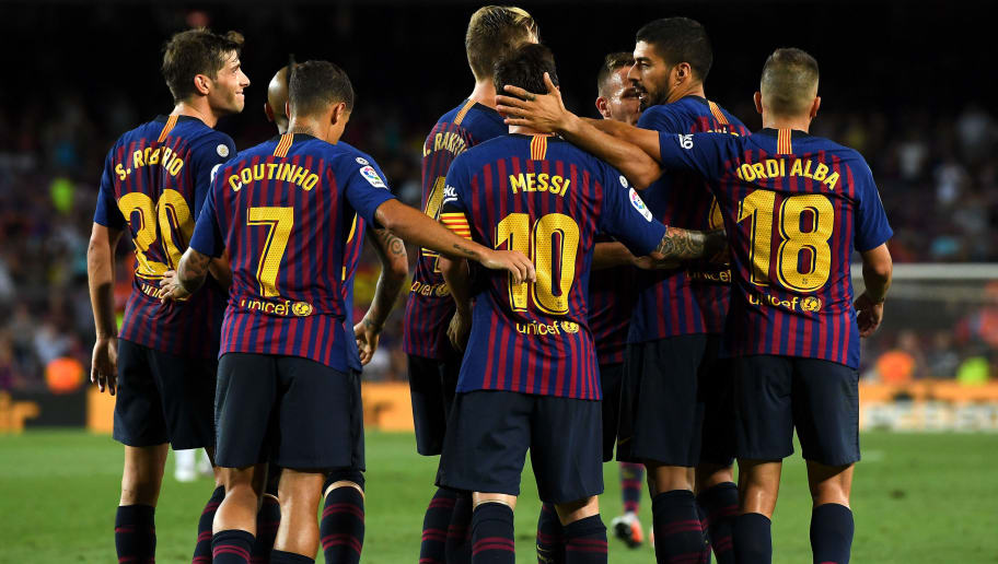 BARCELONA, SPAIN - AUGUST 18:  Lionel Messi of FC Barcelona celebrates with his teams after scoring his team's third goal during the La Liga match between FC Barcelona and Deportivo Alaves at Camp Nou on August 18, 2018 in Barcelona, Spain.  (Photo by David Ramos/Getty Images)