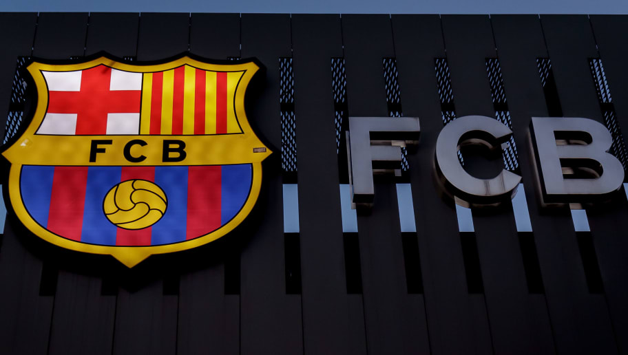 BARCELONA, SPAIN - JANUARY 28: stadium of FC Barcelona logo during the La Liga Santander  match between FC Barcelona v Deportivo Alaves at the Camp Nou on January 28, 2018 in Barcelona Spain (Photo by Laurens Lindhout/Soccrates/Getty Images)
