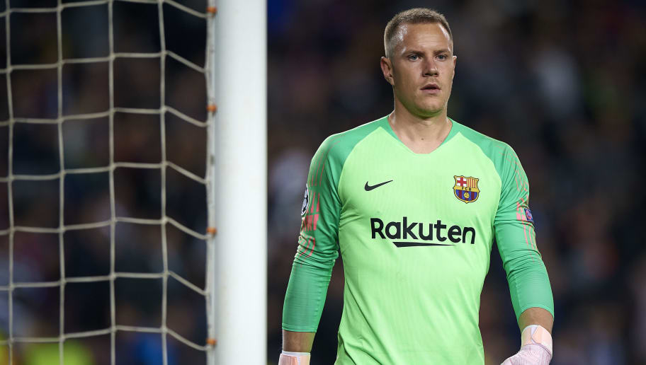 BARCELONA, SPAIN - OCTOBER 24:  Ter Stegen of Barcelona looks on during the Group B match of the UEFA Champions League between FC Barcelona and FC Internazionale at Camp Nou on October 24, 2018 in Barcelona, Spain.  (Photo by Quality Sport Images/Getty Images)