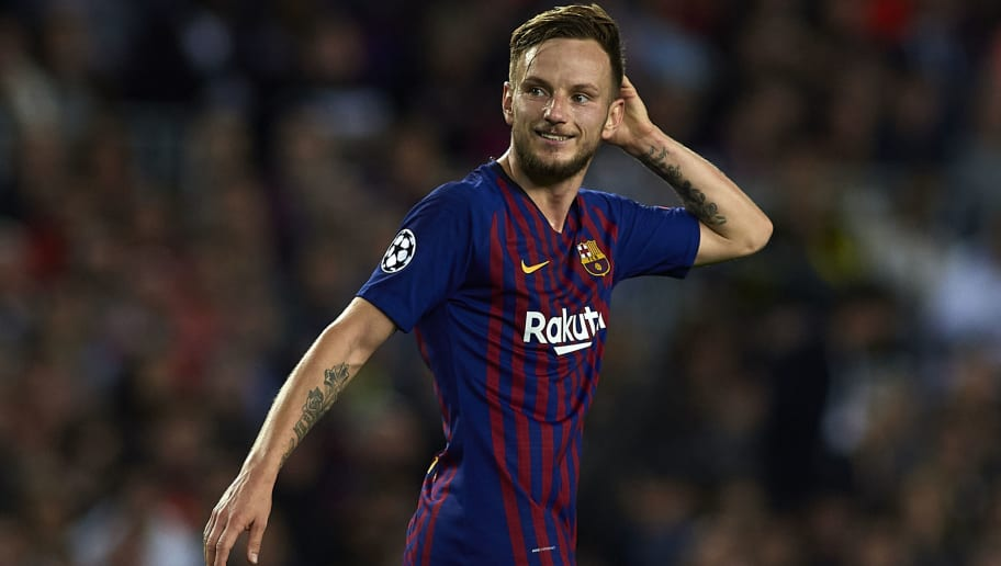 BARCELONA, SPAIN - OCTOBER 24:  Ivan Rakitic of Barcelona reacts during the Group B match of the UEFA Champions League between FC Barcelona and FC Internazionale at Camp Nou on October 24, 2018 in Barcelona, Spain.  (Photo by Quality Sport Images/Getty Images)