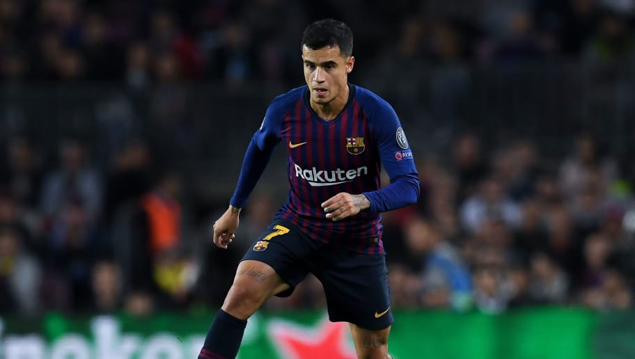 BARCELONA, SPAIN - OCTOBER 24:  Philippe Coutinho of FC Barcelona runs with the ball during the Group B match of the UEFA Champions League between FC Barcelona and FC Internazionale at Camp Nou on October 24, 2018 in Barcelona, Spain.  (Photo by David Ramos/Getty Images)