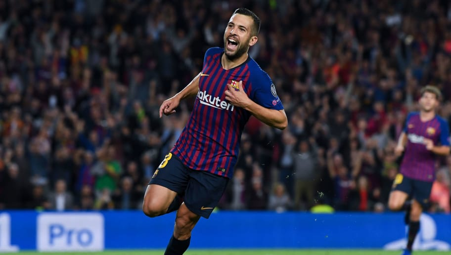 BARCELONA, SPAIN - OCTOBER 24:  Jordi Alba of FC Barcelona celebrates after scoring his team's second goal during the Group B match of the UEFA Champions League between FC Barcelona and FC Internazionale at Camp Nou on October 24, 2018 in Barcelona, Spain.  (Photo by David Ramos/Getty Images)
