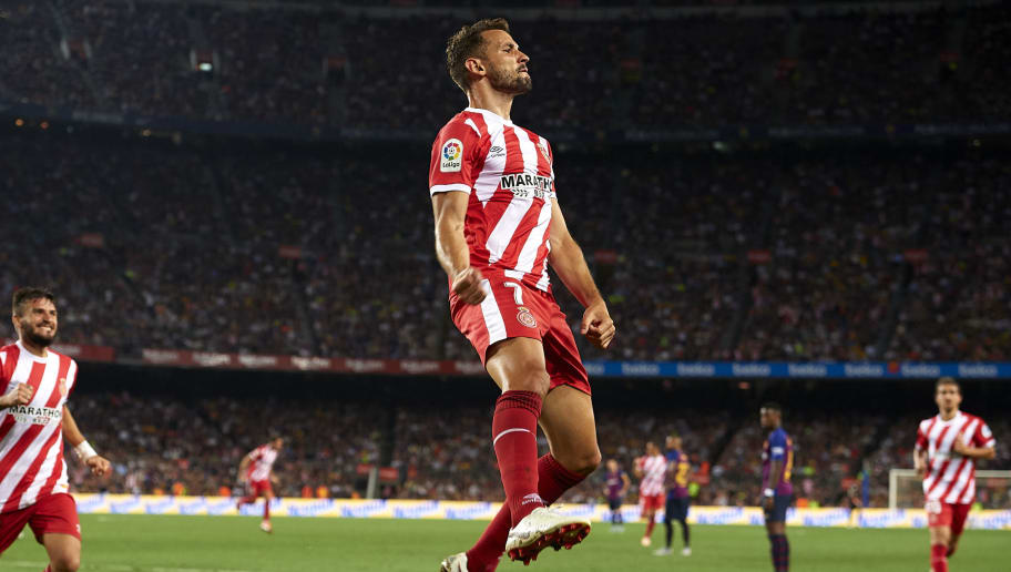 BARCELONA, SPAIN - SEPTEMBER 23:  Cristhian Stuani of Girona celebrates after scoring his sides second goal during the La Liga match between FC Barcelona and Girona FC at Camp Nou on September 23, 2018 in Barcelona, Spain.  (Photo by Quality Sport Images/Getty Images)