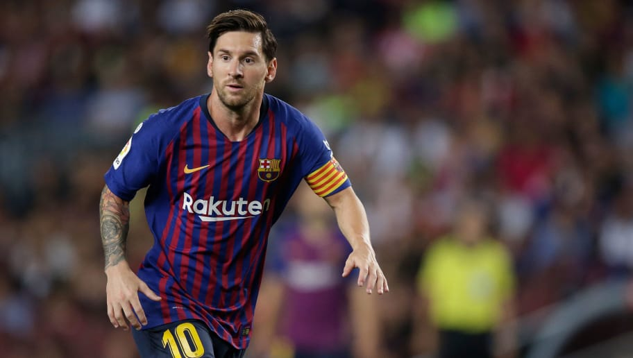 BARCELONA, SPAIN - SEPTEMBER 23: Lionel Messi of FC Barcelona during the La Liga Santander  match between FC Barcelona v Girona at the Camp Nou on September 23, 2018 in Barcelona Spain (Photo by Jeroen Meuwsen/Soccrates/Getty Images)