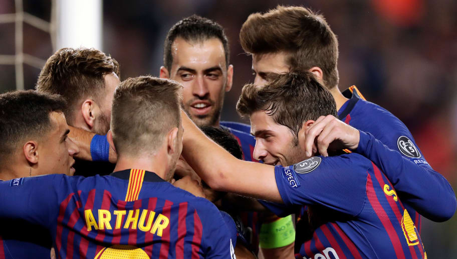 BARCELONA, SPAIN - OCTOBER 24: Rafinha of FC Barcelona celebrates 1-0 with Philippe Coutinho of FC Barcelona, Arthur of FC Barcelona, Jordi Alba of FC Barcelona, Sergio Busquets of FC Barcelona, Gerard Pique of FC Barcelona, Sergi Roberto of FC Barcelona  during the UEFA Champions League  match between FC Barcelona v Internazionale at the Camp Nou on October 24, 2018 in Barcelona Spain (Photo by Jeroen Meuwsen/Soccrates/Getty Images)