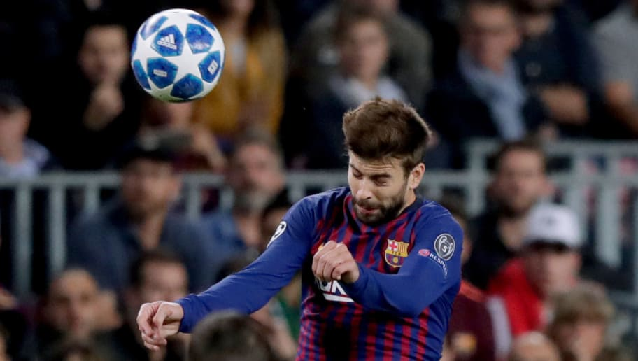 BARCELONA, SPAIN - OCTOBER 24: Gerard Pique of FC Barcelona  during the UEFA Champions League  match between FC Barcelona v Internazionale at the Camp Nou on October 24, 2018 in Barcelona Spain (Photo by Jeroen Meuwsen/Soccrates/Getty Images)