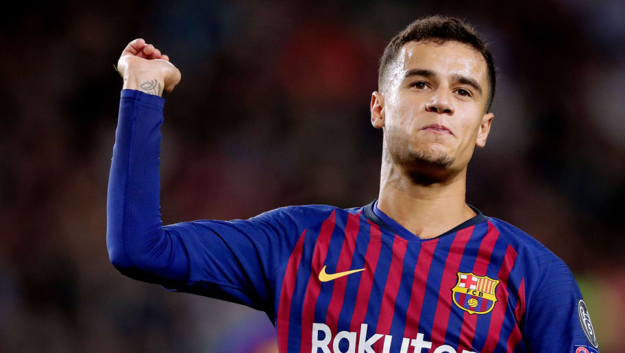 BARCELONA, SPAIN - OCTOBER 24: Philippe Coutinho of FC Barcelona  during the UEFA Champions League  match between FC Barcelona v Internazionale at the Camp Nou on October 24, 2018 in Barcelona Spain (Photo by Jeroen Meuwsen/Soccrates/Getty Images)