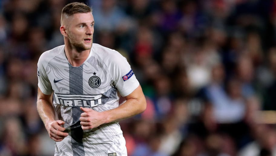 BARCELONA, SPAIN - OCTOBER 24: Milan Skriniar of Internazionale  during the UEFA Champions League  match between FC Barcelona v Internazionale at the Camp Nou on October 24, 2018 in Barcelona Spain (Photo by Jeroen Meuwsen/Soccrates/Getty Images)