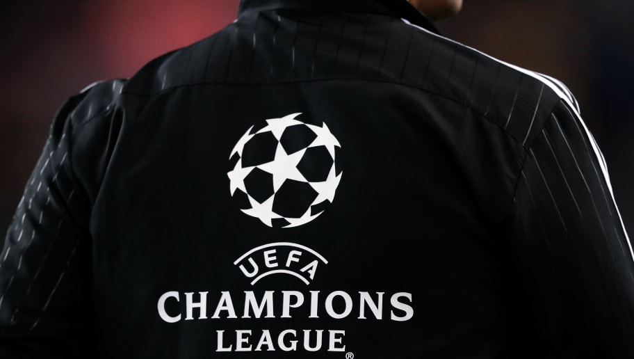 BARCELONA, SPAIN - OCTOBER 24: logo of UEFA Champions League during the UEFA Champions League  match between FC Barcelona v Internazionale at the Camp Nou on October 24, 2018 in Barcelona Spain (Photo by Jeroen Meuwsen/Soccrates/Getty Images)