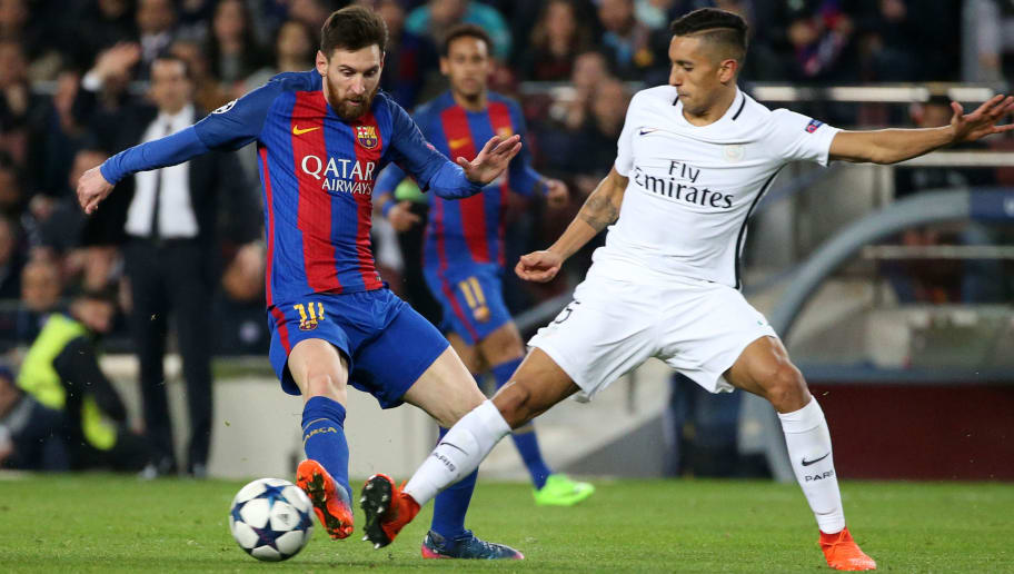 BARCELONA, SPAIN - MARCH 8: Lionel Messi of FC Barcelona and Marquinhos of PSG in action during the UEFA Champions League Round of 16 second leg match between FC Barcelona and Paris Saint-Germain (PSG) at Camp Nou on March 8, 2017 in Barcelona, Spain. (Photo by Jean Catuffe/Getty Images)