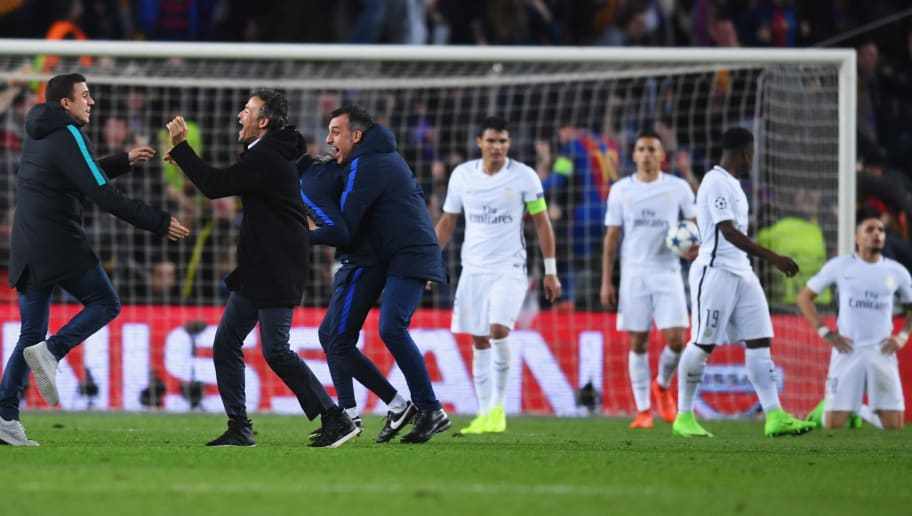 BARCELONA, SPAIN - MARCH 08:  PSG players look dejected as Luis Enrique manager of Barcelona (2L) celebrates with coaching staff as Sergi Roberto of Barcelona scores their sixth goal during the UEFA Champions League Round of 16 second leg match between FC Barcelona and Paris Saint-Germain at Camp Nou on March 8, 2017 in Barcelona, Spain.  (Photo by Michael Regan/Getty Images)