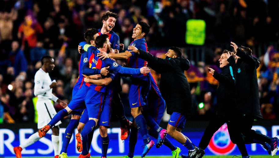 BARCELONA, SPAIN - MARCH 08:  Lionel Messi of Barcelona celebrates with his team after winning 6-1 the UEFA Champions League Round of 16 second leg match between FC Barcelona and Paris Saint-Germain at Camp Nou on March 08, 2017 in Barcelona, Spain.  (Photo by Vladimir Rys Photography/Getty Images)