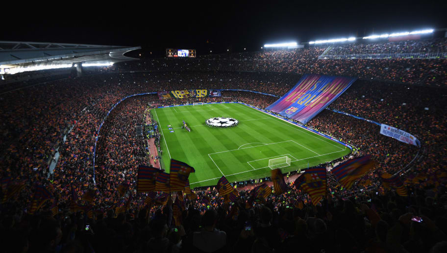 BARCELONA, SPAIN - MARCH 08:  A general view as fans show their support as the teams line up prior to the UEFA Champions League Round of 16 second leg match between FC Barcelona and Paris Saint-Germain at Camp Nou on March 8, 2017 in Barcelona, Spain.  (Photo by Michael Regan/Getty Images)