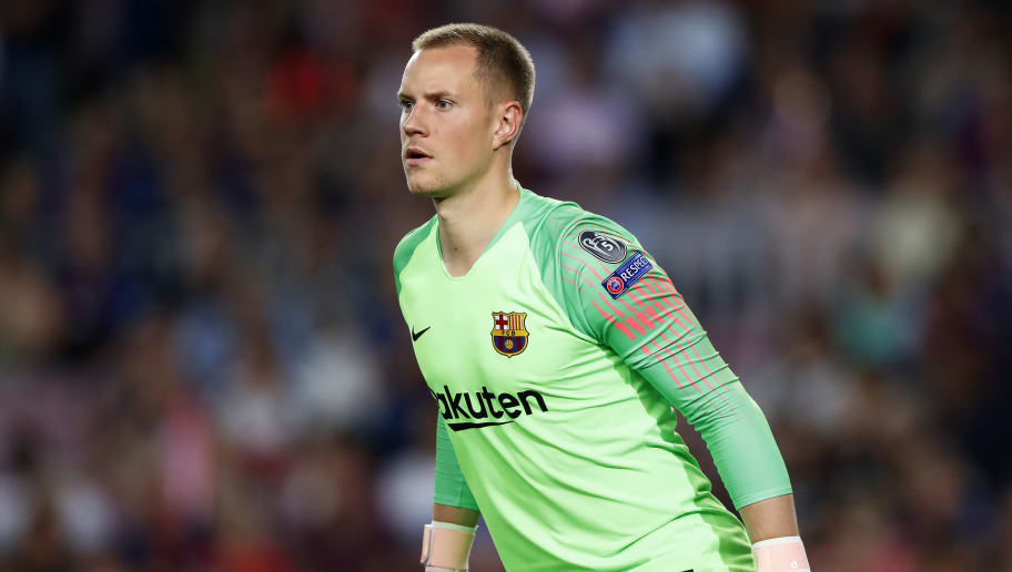 BARCELONA, SPAIN - SEPTEMBER 18: Marc Andre ter Stegen of FC Barcelona during the UEFA Champions League  match between FC Barcelona v PSV at the Camp Nou on September 18, 2018 in Barcelona Spain (Photo by Edwin van Zandvoort/Soccrates/Getty Images)