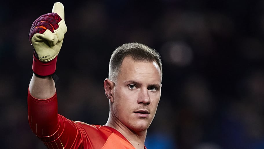 BARCELONA, SPAIN - DECEMBER 22: Ter Stegen of FC Barcelona celebrates the victory at the enf of the La Liga match between FC Barcelona and RC Celta de Vigo at Camp Nou on December 22, 2018 in Barcelona, Spain. (Photo by Quality Sport Images/Getty Images)