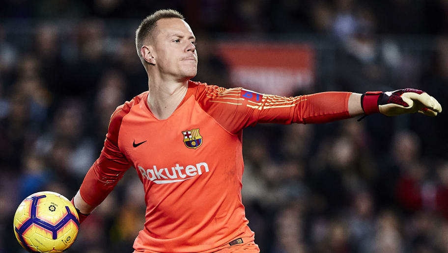 BARCELONA, SPAIN - DECEMBER 22: Ter Stegen of FC Barcelona with the ball during the La Liga match between FC Barcelona and RC Celta de Vigo at Camp Nou on December 22, 2018 in Barcelona, Spain. (Photo by Quality Sport Images/Getty Images)
