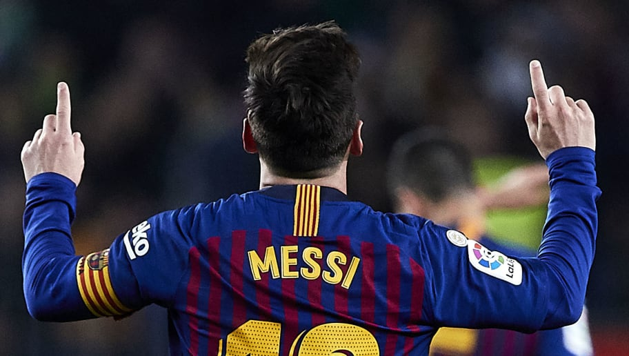 BARCELONA, SPAIN - DECEMBER 22: Lionel Messi celebrates his goal during the La Liga match between FC Barcelona and RC Celta de Vigo at Camp Nou on December 22, 2018 in Barcelona, Spain. (Photo by Quality Sport Images/Getty Images)