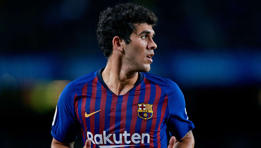 BARCELONA, SPAIN - NOVEMBER 11: Carles Alena of FC Barcelona looks on during the La Liga match between FC Barcelona and Real Betis Balompie at Camp Nou on November 11, 2018 in Barcelona, Spain. (Photo by David Aliaga/MB Media/Getty Images)
