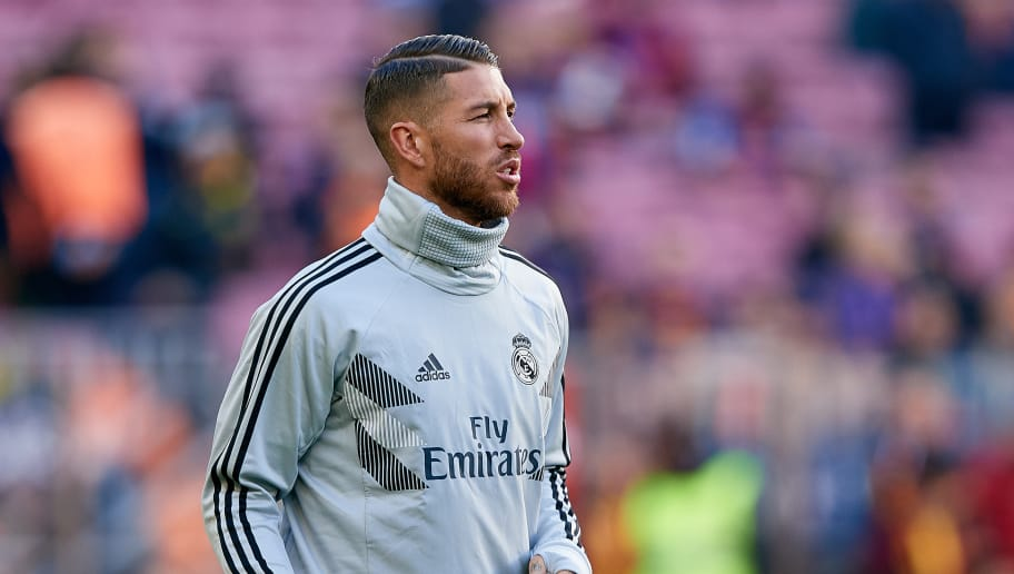 BARCELONA, SPAIN - OCTOBER 28: Sergio Ramos of Real Madrid CF looks on prior to the La Liga match between FC Barcelona and Real Madrid CF at Camp Nou on October 28, 2018 in Barcelona, Spain. (Photo by David Aliaga/MB Media/Getty Images)