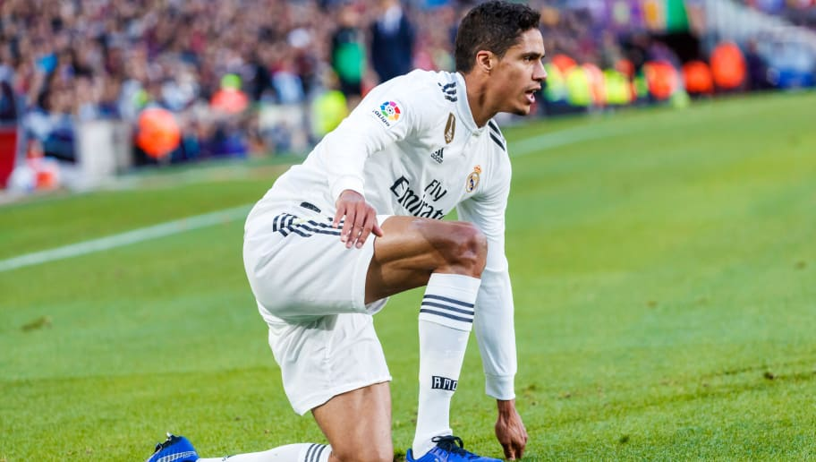BARCELONA, SPAIN - OCTOBER 28: Raphael Varane of Real Madrid gestures during the La Liga match between FC Barcelona and Real Madrid CF at Camp Nou on October 28, 2018 in Barcelona, Spain. (Photo by TF-Images/Getty Images)