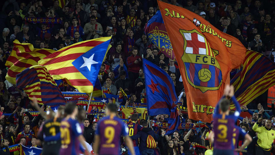 BARCELONA, SPAIN - OCTOBER 28: Barcelona fans wave flags of the Catalan independence during the La Liga match between FC Barcelona and Real Madrid CF at Camp Nou on October 28, 2018 in Barcelona, Spain. (Photo by Quality Sport Images/Getty Images )