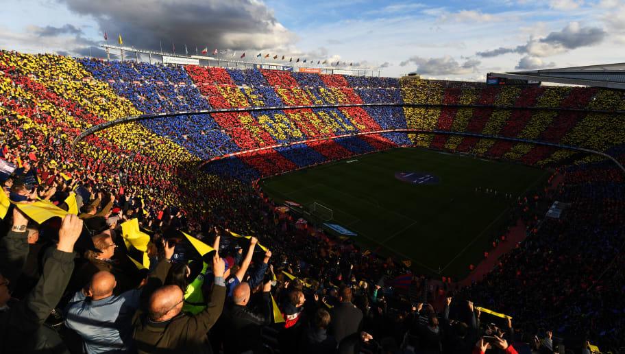 BARCELONA, SPAIN - OCTOBER 28:  General view inside the stadium as Barcelona fans show their support prior to the La Liga match between FC Barcelona and Real Madrid CF at Camp Nou on October 28, 2018 in Barcelona, Spain.  (Photo by David Ramos/Getty Images)