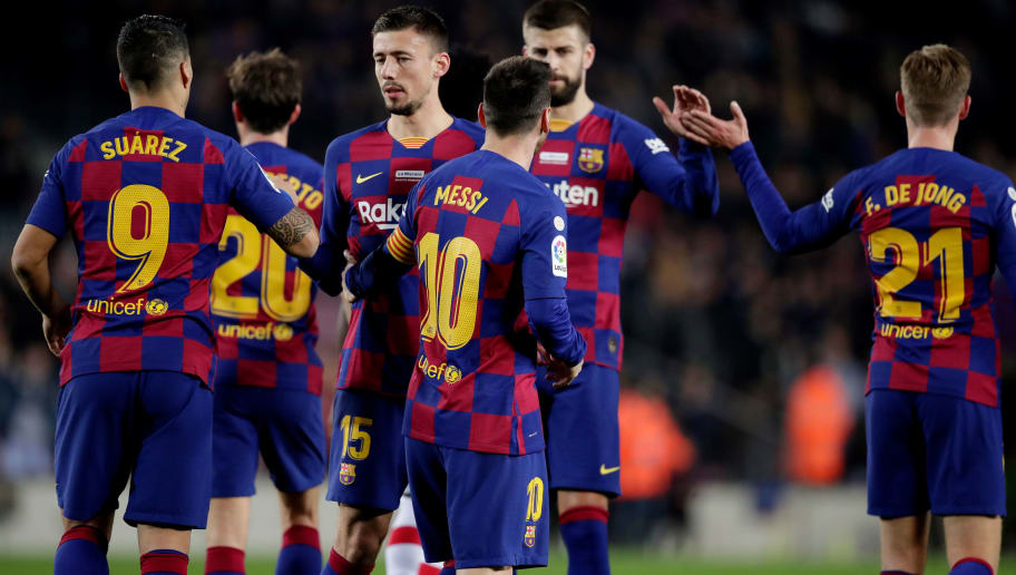Clement Lenglet,Frenkie De Jong,Gerard Pique,Lionel Messi