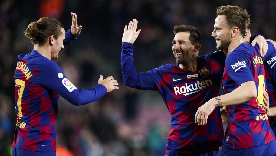 Antoine Griezmann,Ivan Rakitic,Lionel Messi,Sergio Busquets