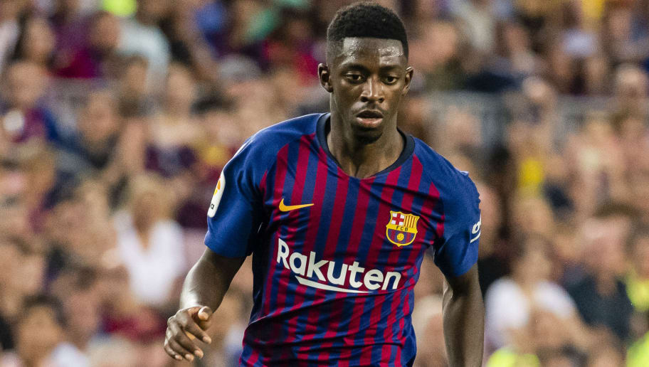 BARCELONA, SPAIN - SEPTEMBER 02: Ousmane Dembele of FC Barcelona in action during the La Liga 2018-19 match between FC Barcelona and SD Huesca at Camp Nou on 02 September 2018 in Barcelona, Spain. (Photo by Power Sport Images/Getty Images)