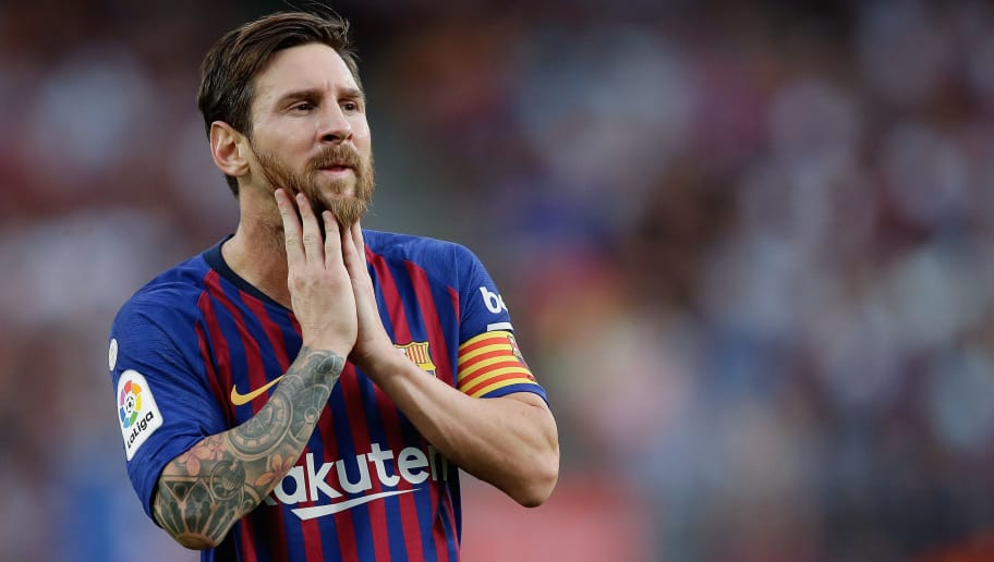 BARCELONA, SPAIN - SEPTEMBER 2: Lionel Messi of FC Barcelona  during the La Liga Santander  match between FC Barcelona v SD Huesca at the Camp Nou on September 2, 2018 in Barcelona Spain (Photo by Jeroen Meuwsen/Soccrates/Getty Images)