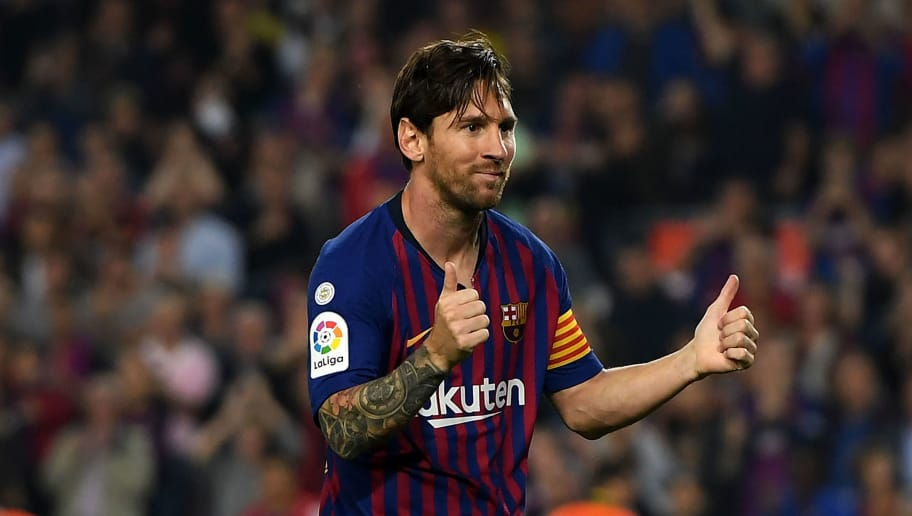 BARCELONA, SPAIN - OCTOBER 20:  Lionel Messi of FC Barcelona celebrates after scoring his sides second goal during the La Liga match between FC Barcelona and Sevilla FC at Camp Nou on October 20, 2018 in Barcelona, Spain.  (Photo by Alex Caparros/Getty Images)