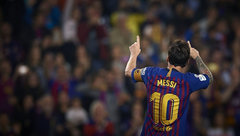 BARCELONA, SPAIN - OCTOBER 20:  Lionel Messi of Barcelona celebrates after scoring the second goal during the La Liga match between FC Barcelona and Sevilla FC at Camp Nou on October 20, 2018 in Barcelona, Spain.  (Photo by Quality Sport Images/Getty Images)