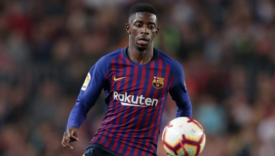 BARCELONA, SPAIN - OCTOBER 20: Ousmane Dembele of FC Barcelona  during the La Liga Santander  match between FC Barcelona v Sevilla at the Camp Nou on October 20, 2018 in Barcelona Spain (Photo by Jeroen Meuwsen/Soccrates/Getty Images)