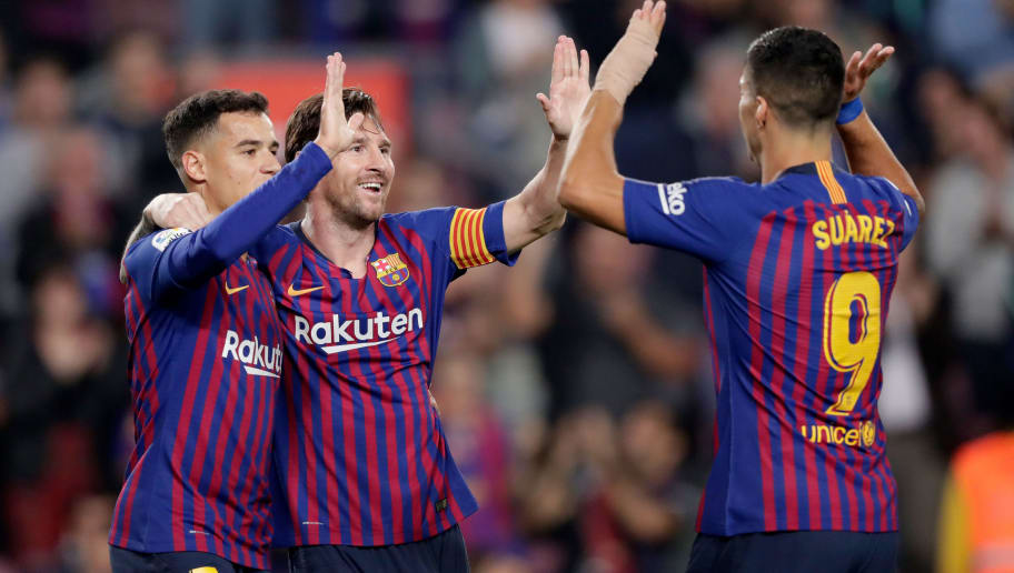 BARCELONA, SPAIN - OCTOBER 20: Lionel Messi of FC Barcelona celebrates 2-0 with Philippe Coutinho of FC Barcelona, Luis Suarez of FC Barcelona  during the La Liga Santander  match between FC Barcelona v Sevilla at the Camp Nou on October 20, 2018 in Barcelona Spain (Photo by Jeroen Meuwsen/Soccrates/Getty Images)