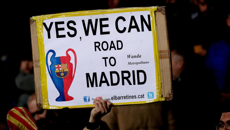 BARCELONA, SPAIN - DECEMBER 11: supporters of FC Barcelona  during the UEFA Champions League  match between FC Barcelona v Tottenham Hotspur at the Camp Nou on December 11, 2018 in Barcelona Spain (Photo by Jeroen Meuwsen/Soccrates/Getty Images)