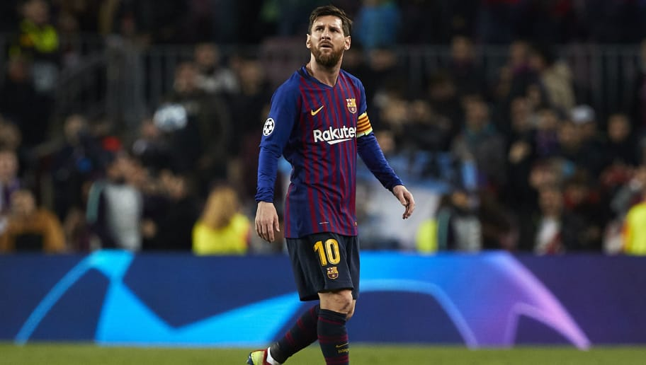 BARCELONA, SPAIN - DECEMBER 11: Lionel Messi of Barcelona leaves the pitch after the UEFA Champions League Group B match between FC Barcelona and Tottenham Hotspur at Camp Nou on December 11, 2018 in Barcelona, Spain. (Photo by Quality Sport Images/Getty Images)