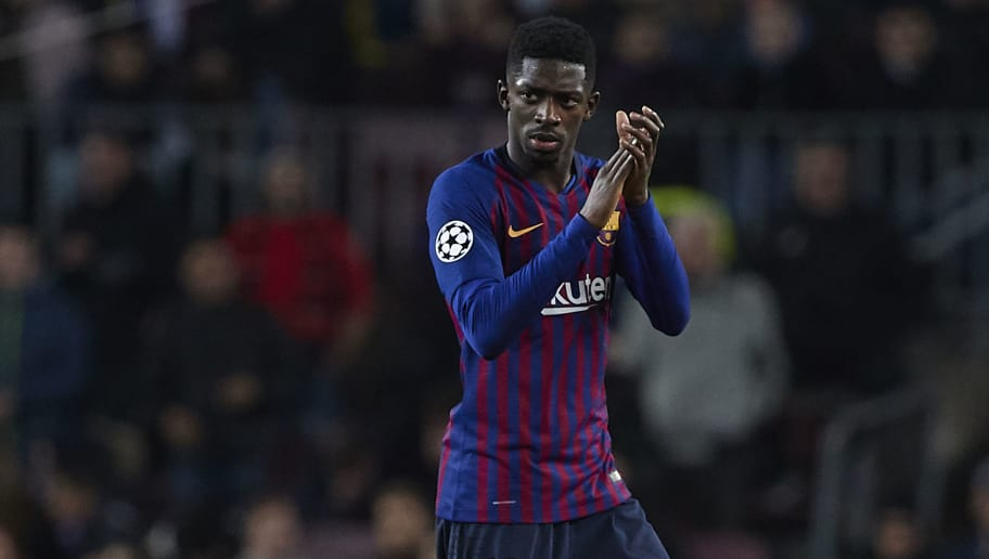 BARCELONA, SPAIN - DECEMBER 11: Ousmane Dembele of Barcelona applauds the crowd as he is substituted during the UEFA Champions League Group B match between FC Barcelona and Tottenham Hotspur at Camp Nou on December 11, 2018 in Barcelona, Spain. (Photo by Quality Sport Images/Getty Images)