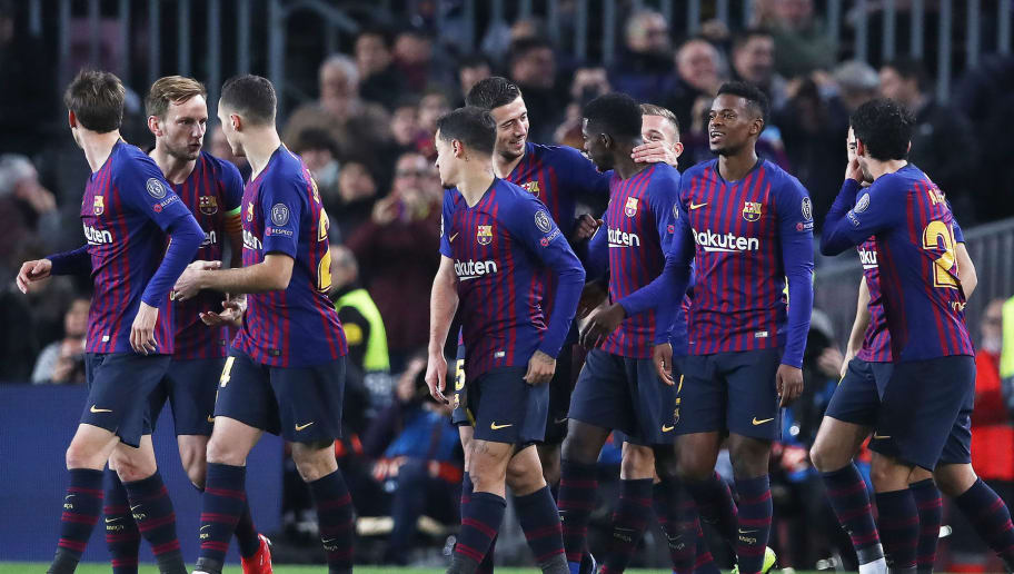 BARCELONA, SPAIN - DECEMBER 11:  Ousmane Dembele of Barcelona celebrates after he scores the opening goal during the UEFA Champions League Group B match between FC Barcelona and Tottenham Hotspur at Camp Nou on December 11, 2018 in Barcelona, Spain. (Photo by Ian MacNicol/Getty Images)