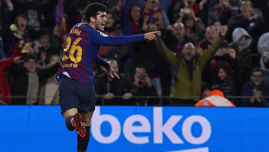 BARCELONA, SPAIN - DECEMBER 02: Carles Alena of Barcelona celebrates after scoring his sides second goal during the La Liga match between FC Barcelona and Villarreal CF at Camp Nou on December 02, 2018 in Barcelona, Spain. (Photo by Quality Sport Images/Getty Images)