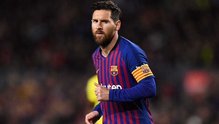 BARCELONA, SPAIN - DECEMBER 02: Lionel Messi of FC Barcelona looks on during the La Liga match between FC Barcelona and Villarreal CF at Camp Nou on December 02, 2018 in Barcelona, Spain. (Photo by David Ramos/Getty Images)