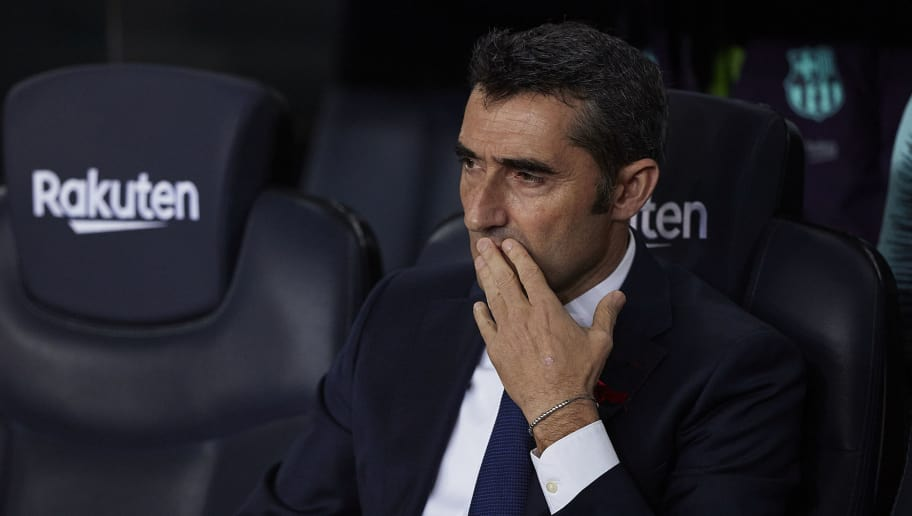 BARCELONA, SPAIN - DECEMBER 02: Ernesto Valverde, Manager of Barcelona looks on prior to the La Liga match between FC Barcelona and Villarreal CF at Camp Nou on December 02, 2018 in Barcelona, Spain. (Photo by Quality Sport Images/Getty Images)