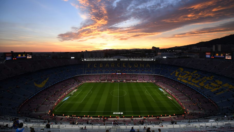 BARCELONA, SPAIN - DECEMBER 02:  General view inside the stadium as the sun sets prior to the La Liga match between FC Barcelona and Villarreal CF at Camp Nou on December 2, 2018 in Barcelona, Spain.  (Photo by David Ramos/Getty Images)