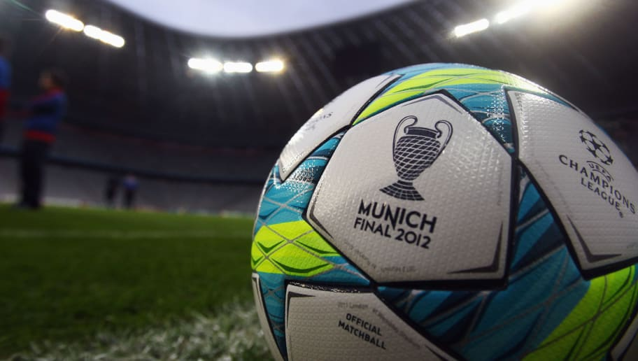 MUNICH, GERMANY - MARCH 12:  'Finale 11', the official Champions League matchball lies on the pitch prior to a FC Basel training session ahead of their UEFA Champions League Round of 16 second leg match against FC Bayern Muenchen at Allianz Arena on March 12, 2012 in Munich, Germany.  (Photo by Alex Grimm/Bongarts/Getty Images)