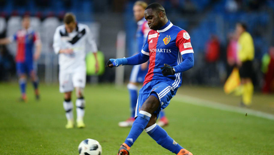 BASEL, SWITZERLAND - FEBRUARY 04: Eder Balanta of Basel controls the ball during the Raiffeisen Super League match between FC Basel and FC Lugano at St. Jakob Park on February 4, 2018 in Basel, Switzerland. (Photo by TF-Images/TF-Images via Getty Images)